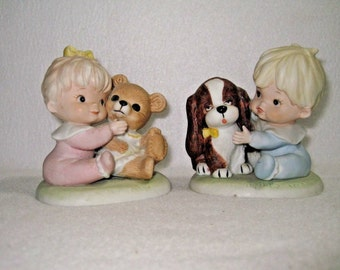 HOMCO Home Interior #1424 Girl w/ Bear & Boy w/ Dog
