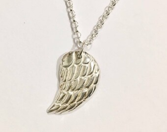 Sterling silver guardian angel wing necklace