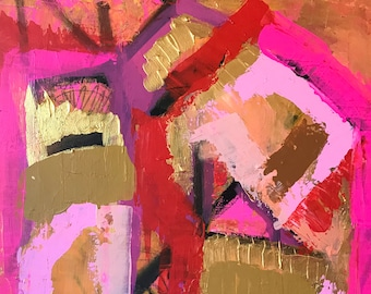 Pink, Gold, Fun, Bright, Abstract, Painting, Canvas, 16x20