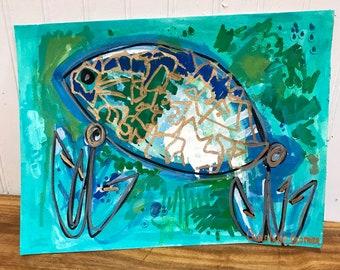 9x12 Fish Art on Canvas Paper