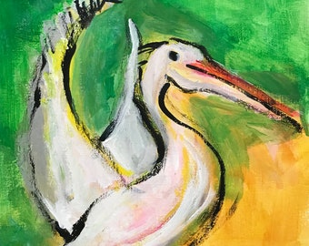 Pelican Painting on Canvas Paper