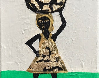 8x10 Figure Painting on Canvas, Gold Leaf, Basket, Lady