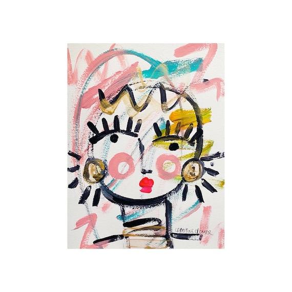 Caroline Cromer Art 18x24 Original Painting on Paper Abstract Face Art