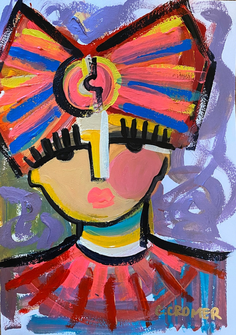 Woman face painting Chic Wall Art Abstract Face Art image 1