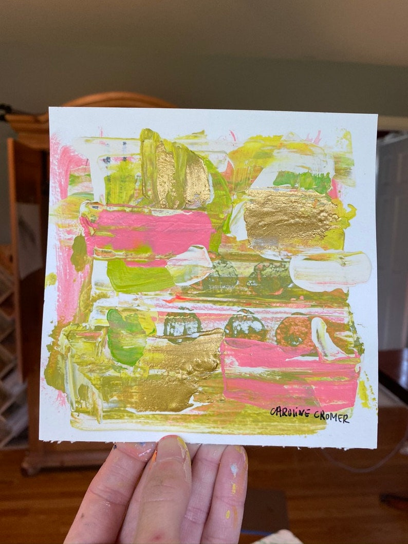Caroline Cromer Art 6x6 Small Abstract Painting on Paper
