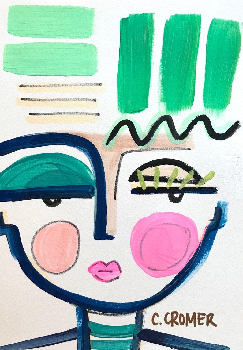 Chic Wall Art Abstract Face Art Original Art 7X10 Figure image 2
