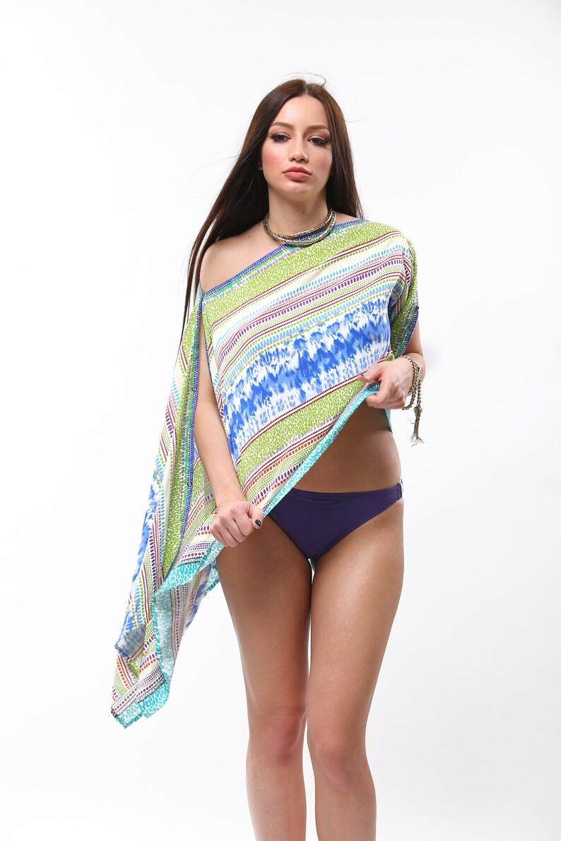 Cotton multicolor versatile tunic top one size