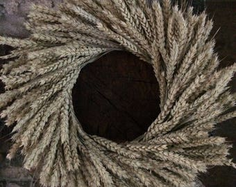 Farmhouse Wreath, Dried Natural Wheat Wreath, Year Round Wreath, Best Selling Wreath