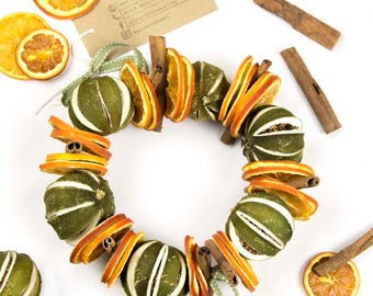 Dried Orange Slices, Cinnamon and Dried Whole Limes Wreath