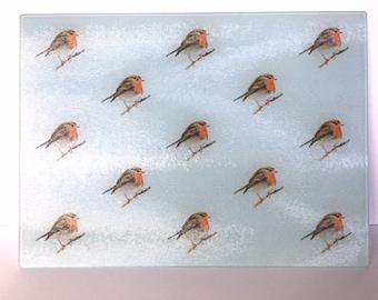 Robin Chopping Board / Worktop Saver - this would look fabulous in a kitchen over Christmas! Robin Illustrated Glass Kitchen Board
