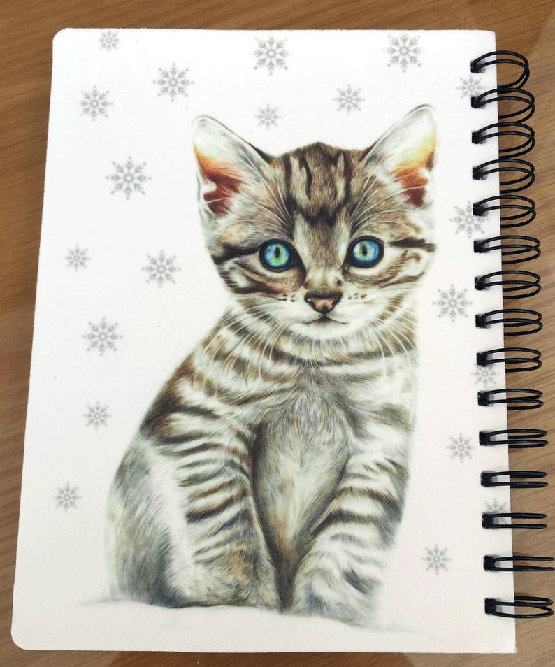 Kitten Illustration Christmas Gift A5 Notebook Kitten in Snow Notebook Gift for her Spiral Notebook Ruled Line Notepad A5 Diary
