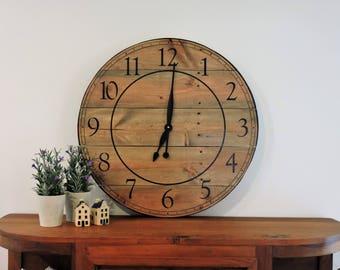 Ferme horloge, horloge rustique, horloge à la main, BigClock, horloge en  bois, horloge peinte, 26