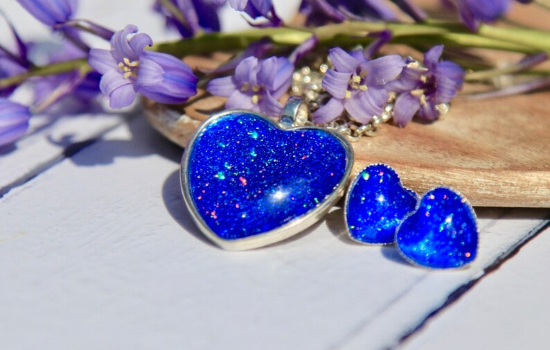 Blue Heart Earrings /& Matching Necklace