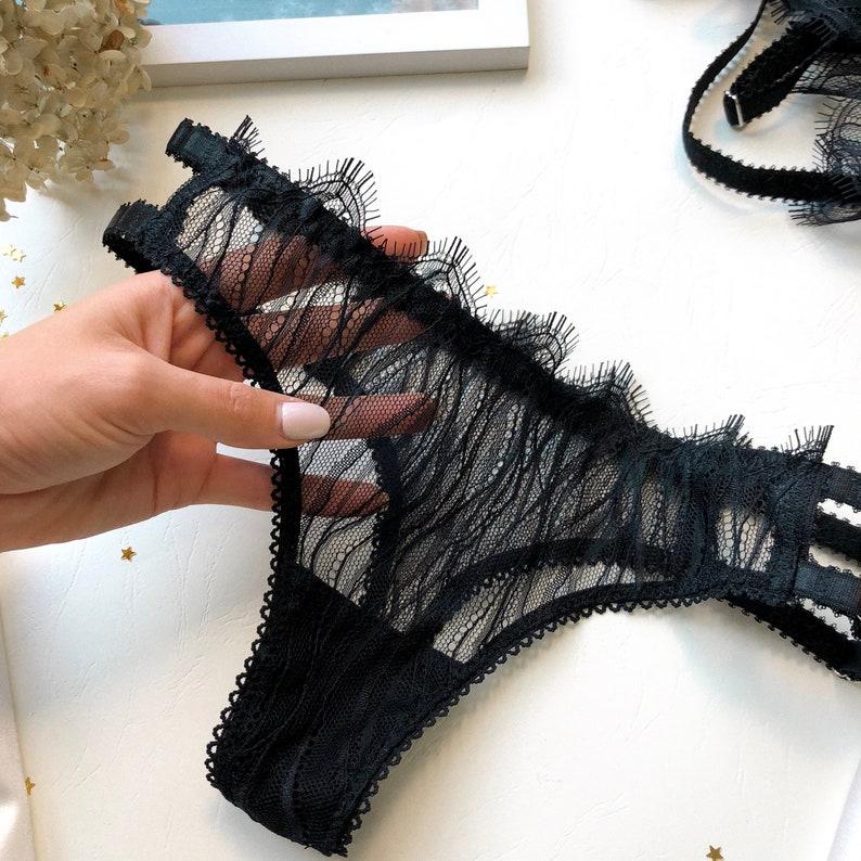 b8c91f64eeef5 DELILAH Panties Sexy Lingerie Handmade Black Lingerie Love | Etsy