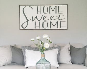 Home Sweet Home  Home Wood Sign  Large Wood Sign Extra Large Wood Sign   Farmhouse Wood Sign Living Room Wall Art