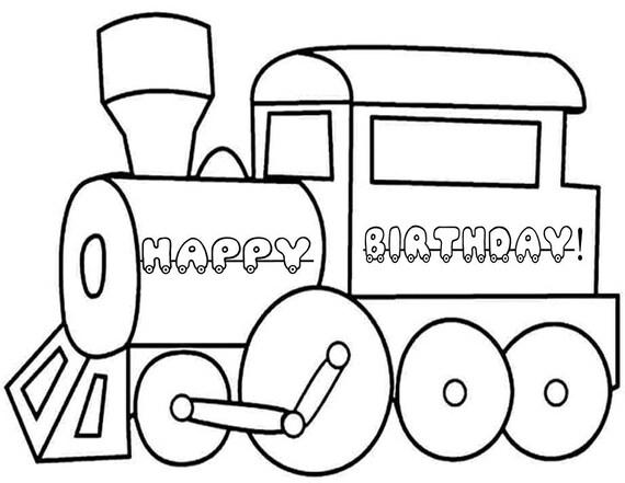 Zug Malvorlagen Zug Färbung Blatt Zug-Geburtstags-Party