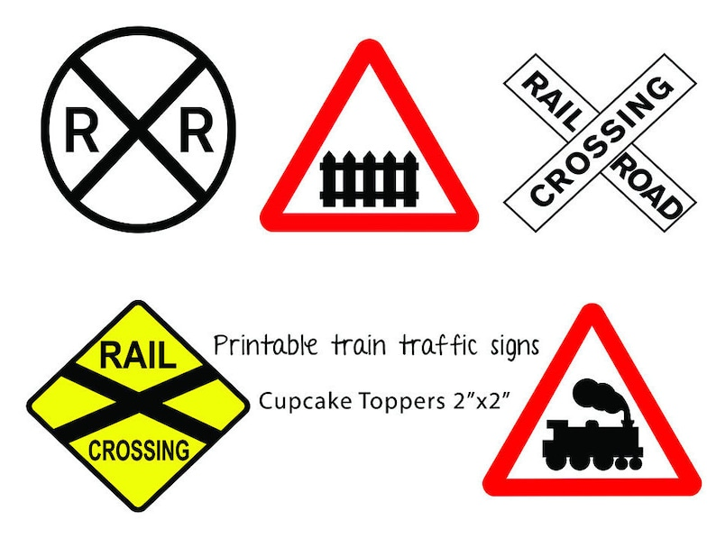 photograph about Railroad Crossing Sign Printable named Coach Birthday Occasion, Teach Cupcake Toppers, Prepare Occasion Decoration, Printable Teach Social gathering Decor, Railroad Crossing Cupcake Toppers, electronic