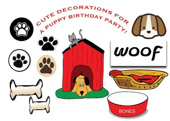 puppy partido para imprimir decoración de cumpleaños de puppy etsy