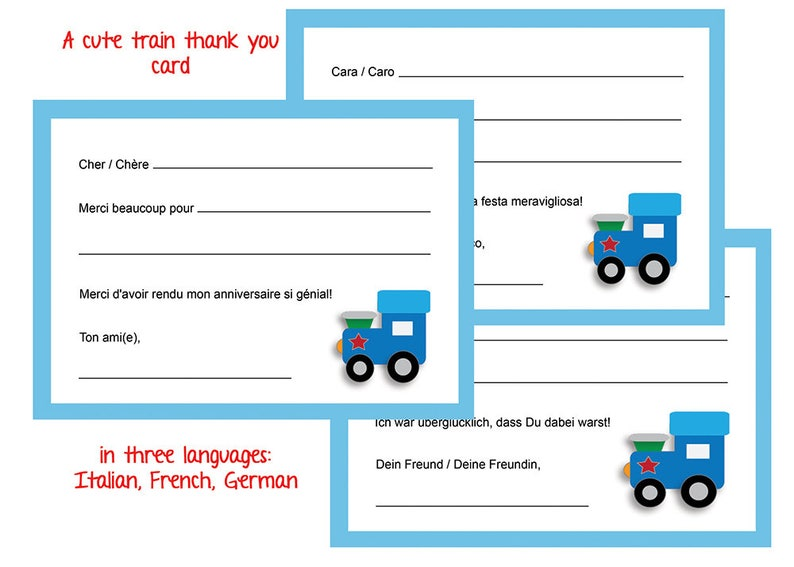 Train Thank You Cards In French Italian German