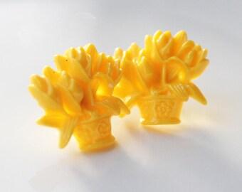 Yellow Flower Earrings   Stud Earrings   Bright Earrings   Flower Earrings