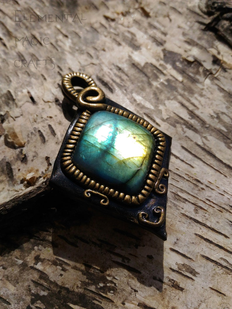 Belenus Celtic Mythology Labradorite Pendant Unique Jewelry Amulet Necklace  Talisman Unisex Men Wearable Art Gift Golden Green Black Crystal