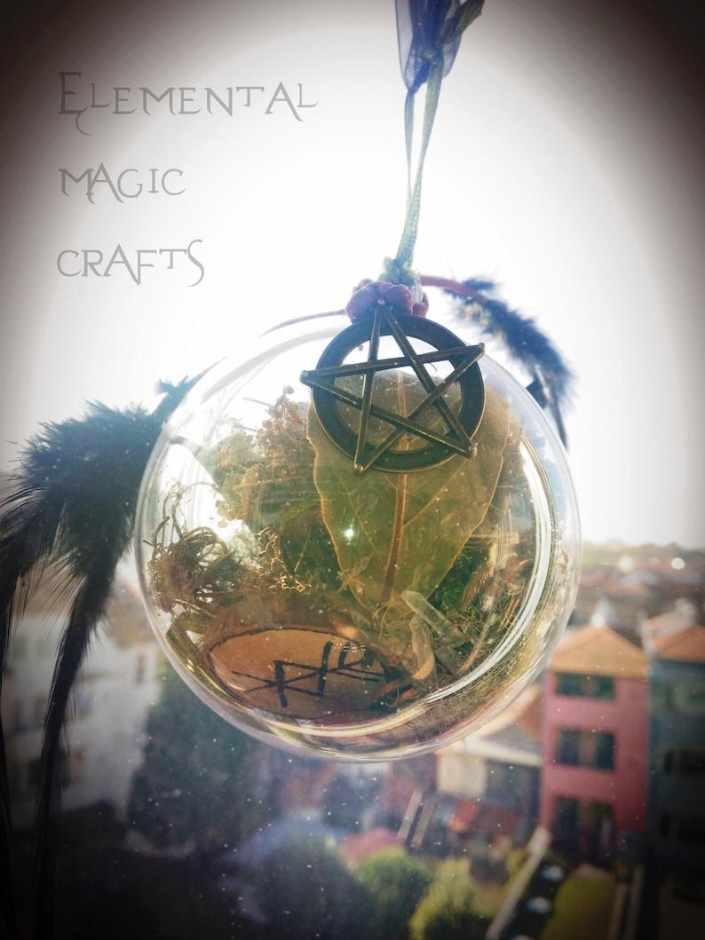 Wicca Christmas.Prosperity Witch Ball Yule Pagan Witchcraft Witchy Wiccan Wicca Christmas Protection Amulet Runes Laurel Fennel Fluorite Crystal Quartz
