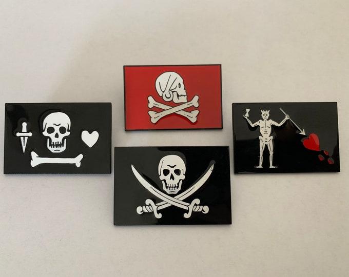4 Pirate Flags Enamel Pins Set