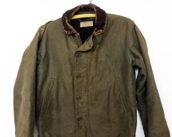 6e502d3e62c Vintage 1940s WWII N-1 U.S. Navy Heavy Lined Deck Jacket Size 38