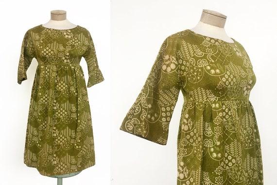 Stellar Vintage 1960s Tapestry Boho Babydoll Dress