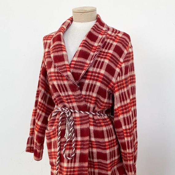 Vintage 40s Red Plaid Beacon Robe - image 1
