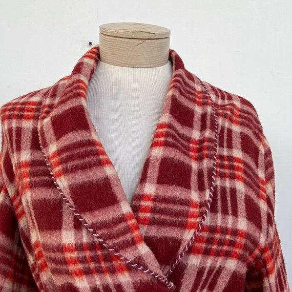 Vintage 40s Red Plaid Beacon Robe - image 4
