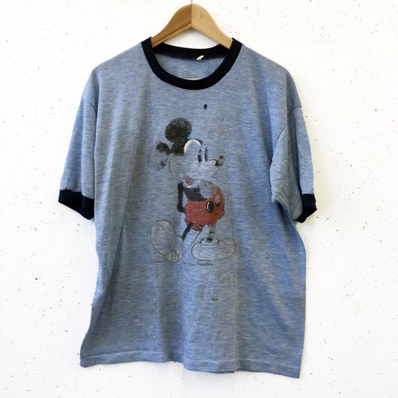 Vintage 80s Thrashed Paper Thin Mickey Mouse Ringe