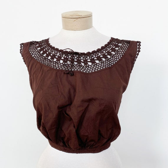 Vintage Edwardian Over Dyed Cotton Lace Corset Co… - image 1
