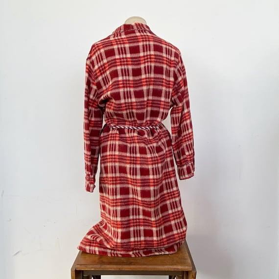 Vintage 40s Red Plaid Beacon Robe - image 5