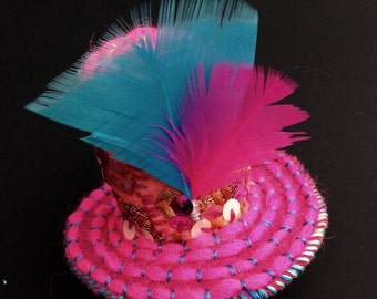Put a Feather in Your Cap... A Hand-Stitched & Embroidered Mini Clip-On Party Hat!