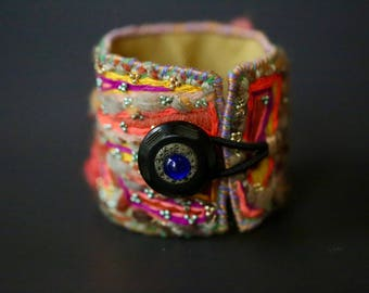 Dreams of Afar... A Hand-Stitched Tribal Gypsy Cuff with Vintage Button