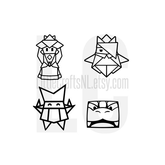 Paper Mario Origami King Peach Bowser Olivia Olly Vinyl Decal Etsy