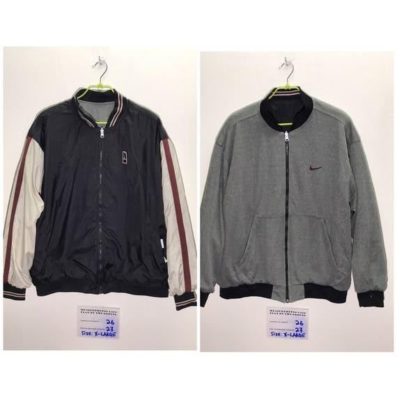 Rare Vintage 90s Nike Swoosh Jacket, Windbreaker Size X Large XL nike Sweatshirt Nike Hoodie bomber jacket reversible Jacket