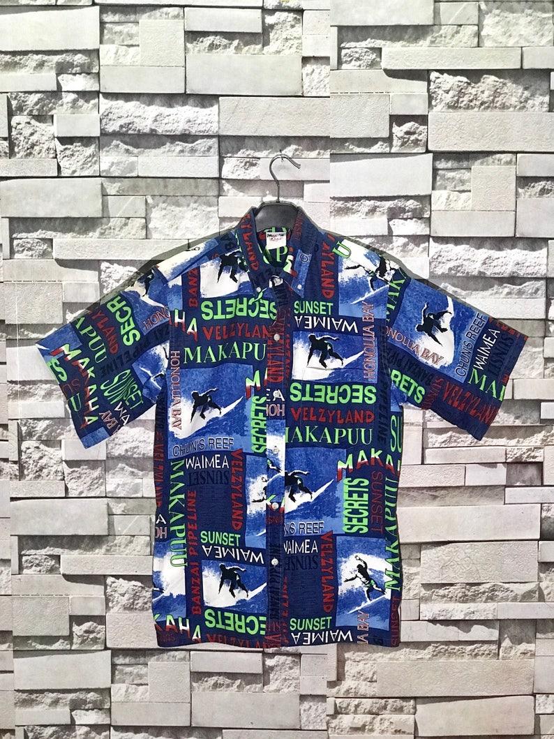 Rare Vintage Surf Surfing Hawaiian Shirt Made In Usa Size Medium M / Full  Print Shirts / Hawaii Shirt / Surfboards Shirts