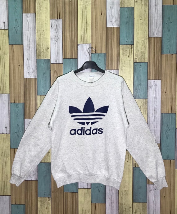 sneakers for cheap af957 38a2a Adidas Vintage Trefoil gros Logo Sweatshirt Made In Usa taille   Etsy