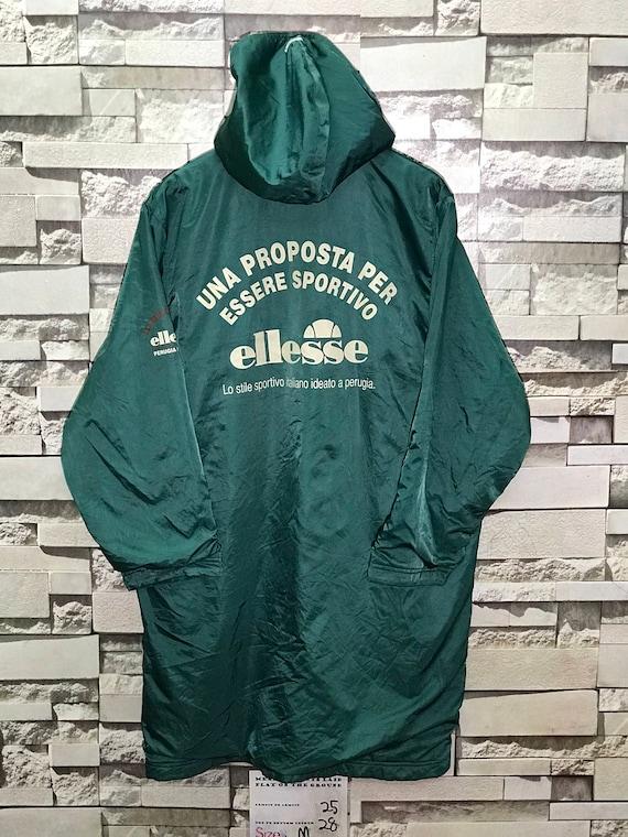 Seltene Vintage 90er Jahre Ellesse lange Kapuzenjacke Made in Japan Größe Medium M Ellesse Winterjacke Ellesse Pullover Ellesse T Shirts