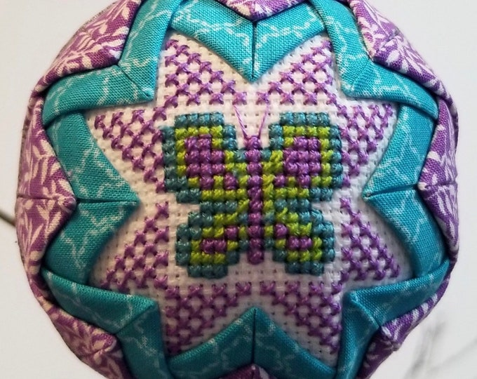 Featured listing image: Butterfly Cross Stitch Ornament Ball