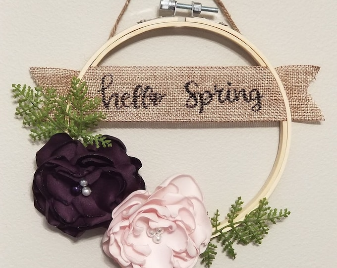 Featured listing image: Hello Spring Sign, Embroirdery Hoop Sign, Spring Decoration, Burlap Banner