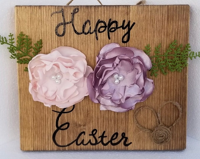 Featured listing image: Happy Easter, Easter Decoration, Wood Sign, Easter Gift, Floral Decoration