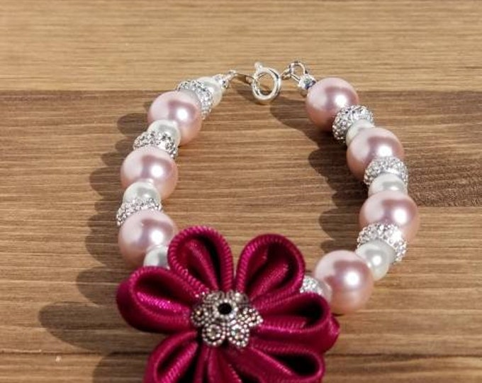 Featured listing image: Mauve Satin Flower Beaded Bracelet