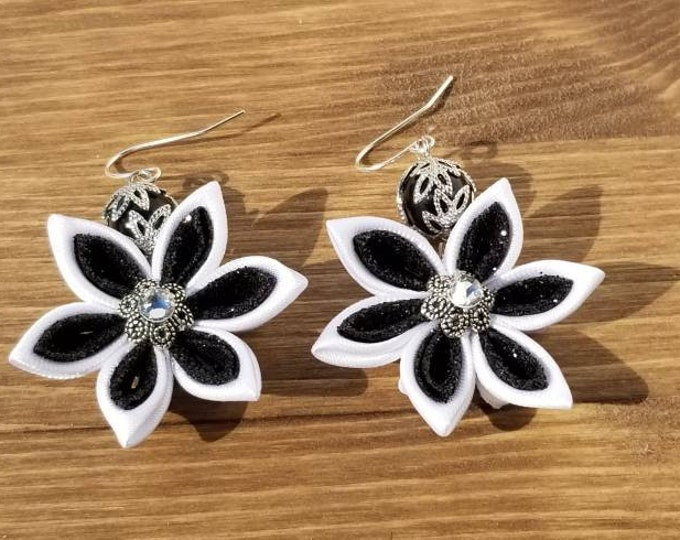 Featured listing image: Black and White Satin Flower Earrings