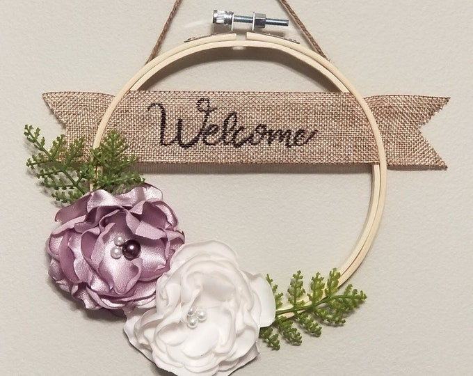 Featured listing image: Welcome Decoration, Embroidery Hoop Decoration, Handmade Satin Flower Decoration, Rustic Decoration, Floral Decoration, Wall Hanging