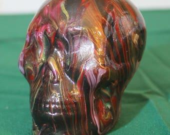 Poured paint plaster skull