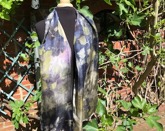 Silk scarf ecoprint, painted with plants, dark blue, pink, old silver, leaves prints, unique ladies gift