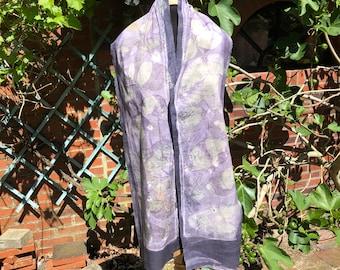 Scarf ecoprint, cotton, dyed with plants, purple, lilac, leaf prints, unique ladies gift